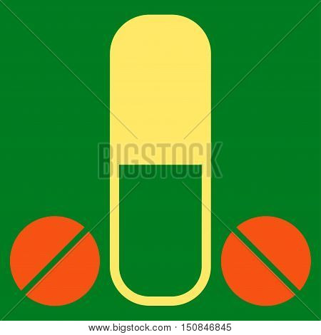 Male Medication vector icon. Style is bicolor flat symbol orange and yellow colors rounded angles green background.
