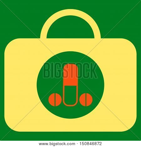 Male Sexual Toolbox vector icon. Style is bicolor flat symbol orange and yellow colors rounded angles green background.
