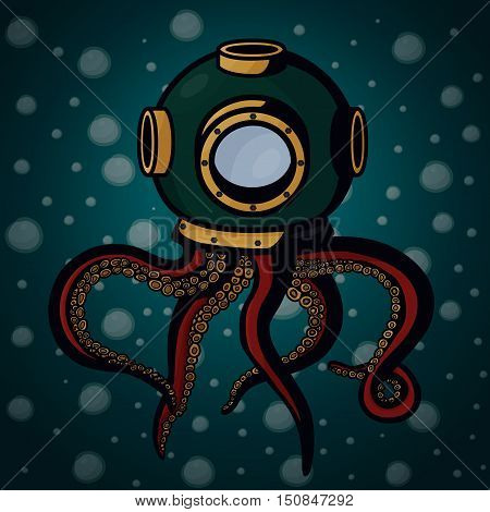 Octopus living in retro diving helmet on blue bubbles background