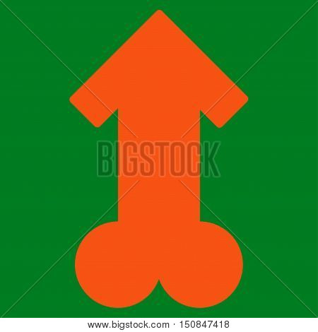 Male Sexual Potence vector icon. Style is flat symbol orange color rounded angles green background.