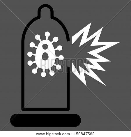 Damaged Condom With Virus vector icon. Style is bicolor flat symbol black and white colors rounded angles gray background.