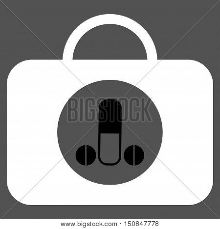 Male Sexual Toolbox vector icon. Style is bicolor flat symbol black and white colors rounded angles gray background.