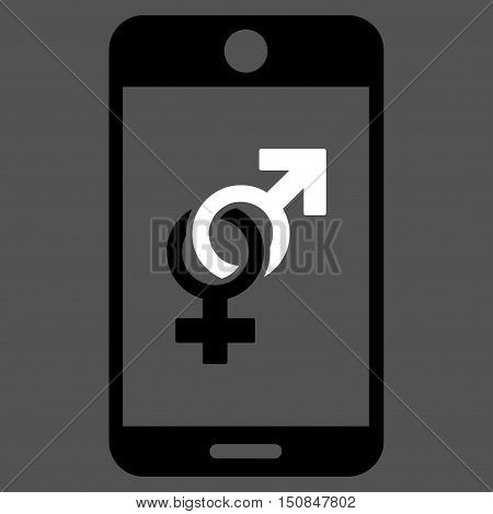 Mobile Dating vector icon. Style is bicolor flat symbol black and white colors rounded angles gray background.