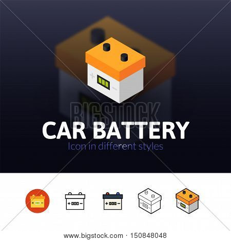 Car battery color icon, vector symbol in flat, outline and isometric style isolated on blur background