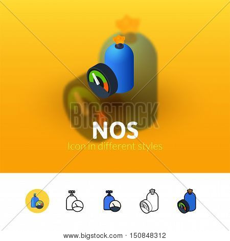 NOS color icon, vector symbol in flat, outline and isometric style isolated on blur background