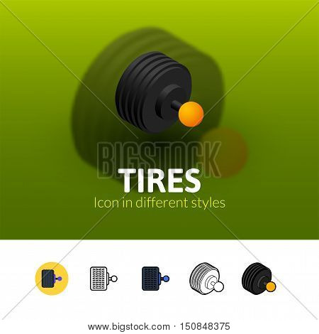 Tires color icon, vector symbol in flat, outline and isometric style isolated on blur background