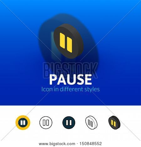 Pause color icon, vector symbol in flat, outline and isometric style isolated on blur background