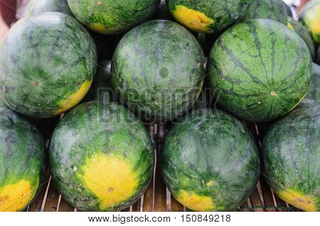 stack Water Melons in local market thailand
