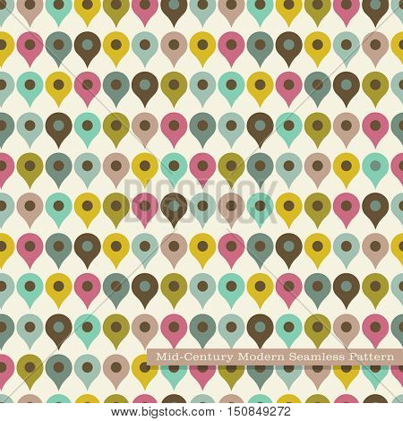 seamless retro pattern in mid century modern style. rows of map pins in vintage colors.