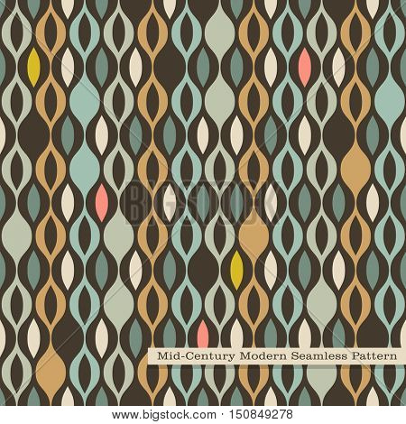 seamless retro pattern in mid century modern style. Abstract wavy stripes in vintage colors.