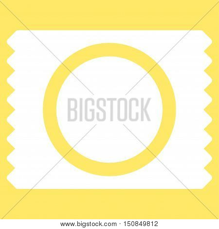 Condom Pack vector icon. Style is flat symbol, white color, rounded angles, yellow background.
