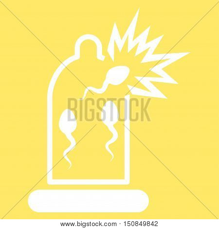 Damaged Condom With Sperm vector icon. Style is flat symbol, white color, rounded angles, yellow background.