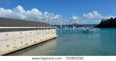 Ladscape View Of An Old Boat Shed In Sandspit New Zealand