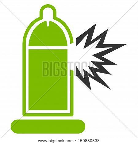 Damaged Condom With Penis vector icon. Style is bicolor flat symbol, eco green and gray colors, rounded angles, white background.
