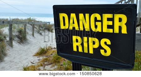 Danger Rips Of Strong Currents Sign Posted On The Beac