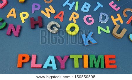 Play Time Written In Multicolored  Kids Letters