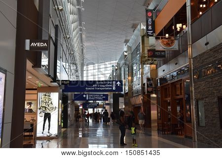 DALLAS, TX - SEP 19: Dallas-Fort Worth International Airport (DFW) in Texas, as seen on Sep 19, 2016. It is the largest hub for American Airlines, which is headquartered near the airport.