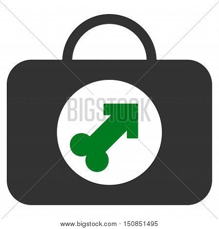 Male Erection Case vector icon. Style is bicolor flat symbol, green and gray colors, rounded angles, white background.
