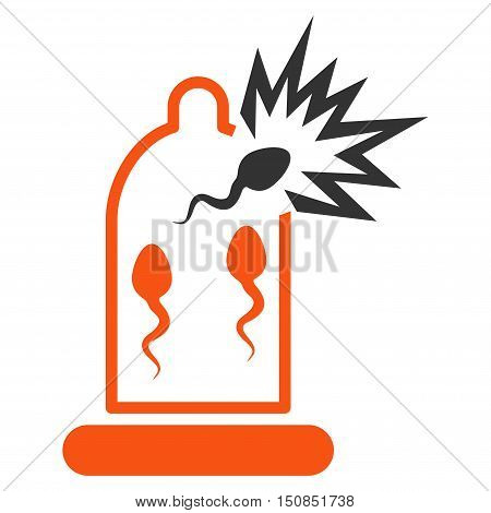 Damaged Condom With Sperm vector icon. Style is bicolor flat symbol, orange and gray colors, rounded angles, white background.