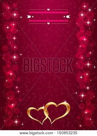 Bright Valentine s day background with golden hearts. Bright gold hearts on the red background. Vector illustration.