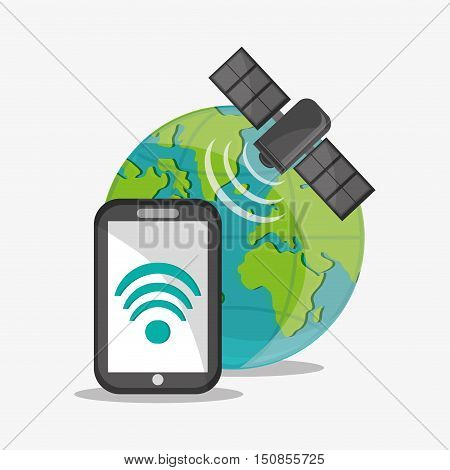 Satellite smartphone and planet icon. Global communication internet and technology theme. Colorful design. Vector illustration