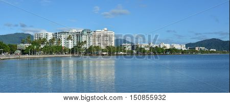 Panoramic Landscape View Of Cairns Waterfront Skyline