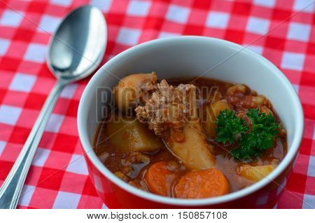 Close up photo of a hearty meat a vegetable soup