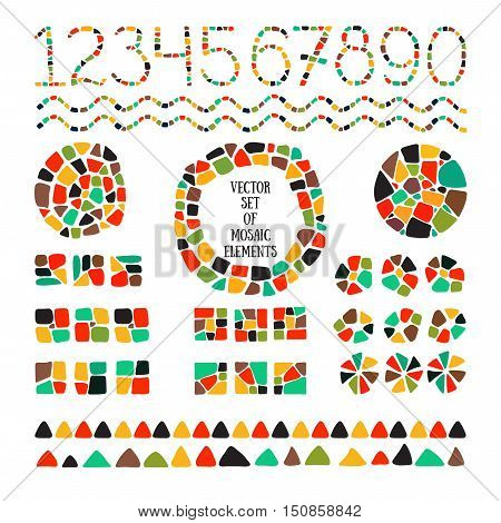Bright mosaic texture. Vector isolated circle, square, triangle, border,numbers for decoration. Ceramic tile texture. Easy to recolor.