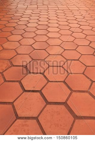 Red Stamped Concrete or rough stone walkway
