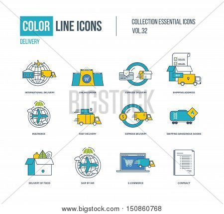 Color Line icons collection. International delivery, online order, express and fast delivery, shipping address, insurace, shipping dangerous goods, ship by air, e-coommerce