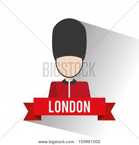 Big ben and soldat icon. London england landmark and tourism theme. Colorful design. Vector illustration