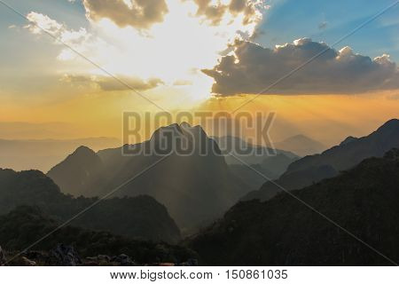 Light of god in to mountain with best sky and cloud
