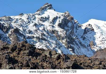 Snow Cap On Mount Ruapehu  In Tongariro National Park