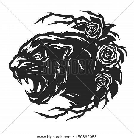 The head of a black panther and roses.