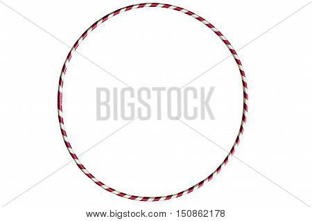 The hula Hoop red with silver isolated on white background. Gymnastics, fitness, diet. Versatile exerciser for sports , fitness and ballet.