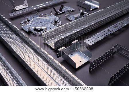 Profile for plasterboard, set of building profiles, steel profiles for repair, construction works