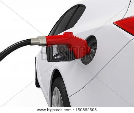 Car Refueling at Gas Station isolated on white background. 3D render