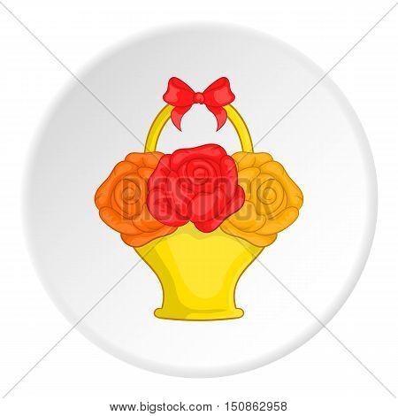 Flowers in basket icon. Cartoon illustration of flowers in basket vector icon for web