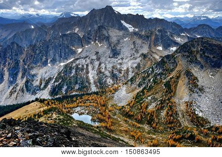 Fall colors on Frosty Mountain summit in Manning Park near Hope. British Columbia. Canada.
