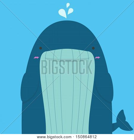 cute big fat whale on blue background
