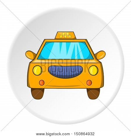 Taxi icon in cartoon style isolated on white circle background. Transportation symbol vector illustration