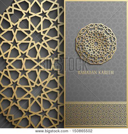 3d Ramadan Kareem greeting card, invitation islamic style.Arabic circle golden pattern.Gold ornament on black, islamic