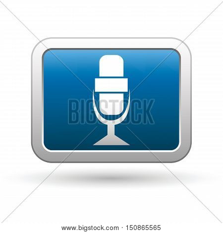 Microphone icon on the button. Vector illustration