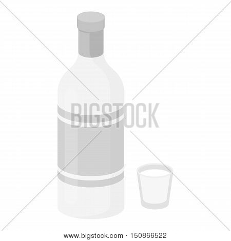 Vodka icon in monochrome style isolated on white background. Alcohol symbol vector illustration.