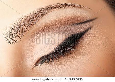 Beautiful eye makeup, closeup