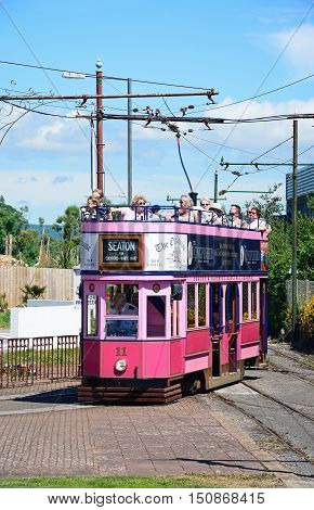 SEATON, UNITED KINGDOM - JULY 18, 2016 -View of an open topped Seaton Electric Tramway Tram packed with tourists Seaton Devon England UK Western Europe, July 18, 2016.