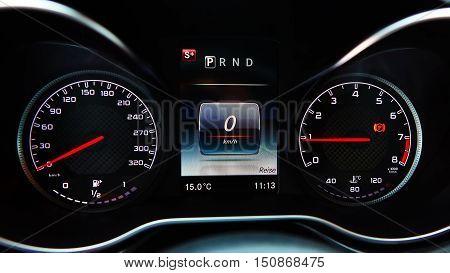 Modern car speedometer. Close up shot of the dashboard a car