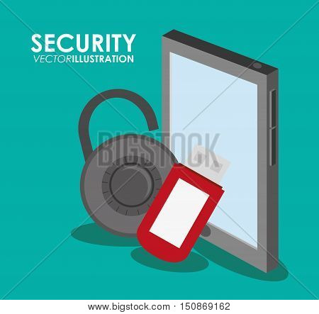 Tablet usb and padlock icon. Security system warning and protection theme. Colorful design. Vector illustration