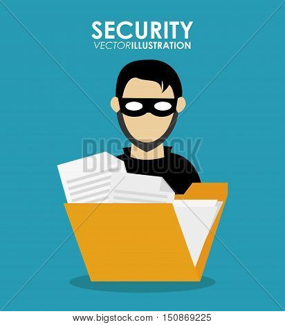 Hacker cartoon icon. Security system warning and protection theme. Colorful design. Vector illustration