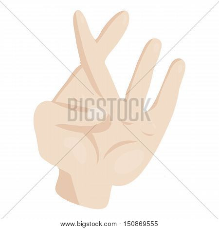 Hand with crossed fingers icon in cartoon style isolated on white background vector illustration